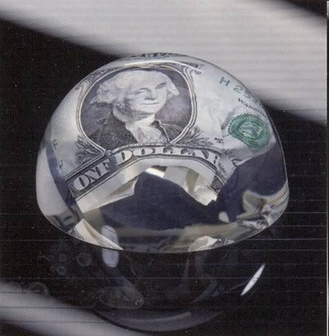 Tombstone mit Acryl Einschluss mit Dollar Note. Die Tombstones werden mit einen individuellen und kundenspezifischen Gegenstand veredelt.